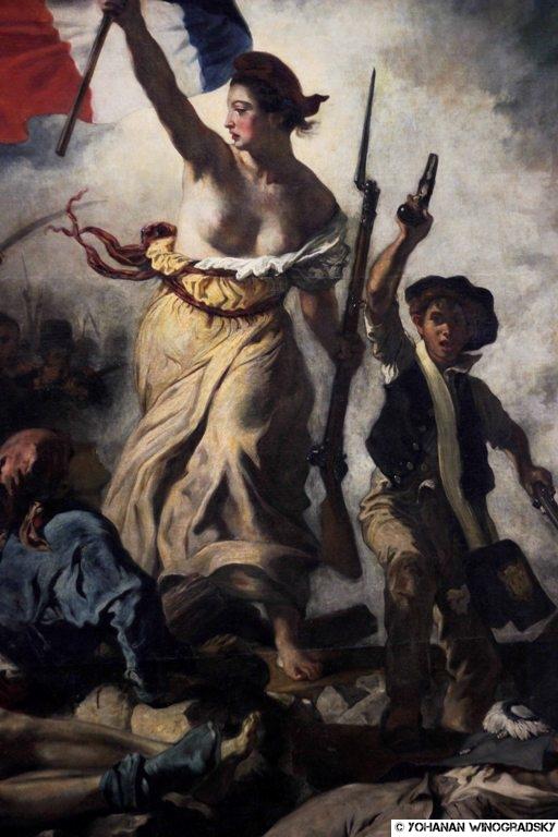 Visite Par C215 Au Louvre La Liberte Guidant Le Peuple D Eugene Delacroix