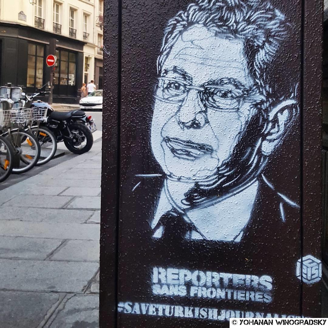 streetart c215 paris campagne en soutien aux journalistes turcs