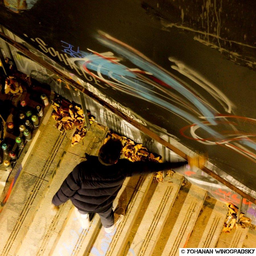 streetart paris kwan dans les marches du lavo//matik