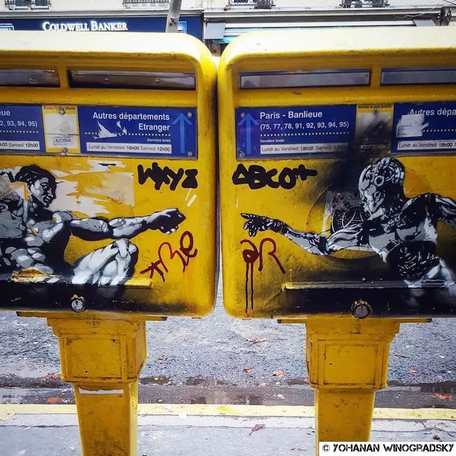 streetart par emarstreet à paris - digital age