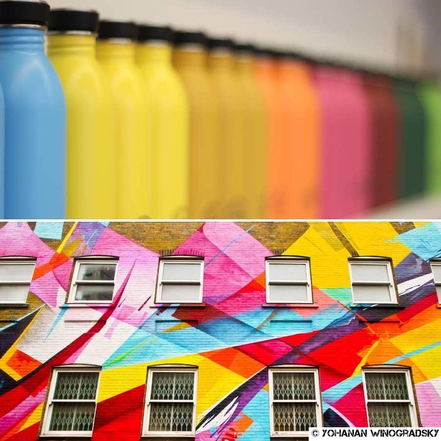 étale de peintures du magasin de la fondation louis vuitton et streetart mur à londres de madc