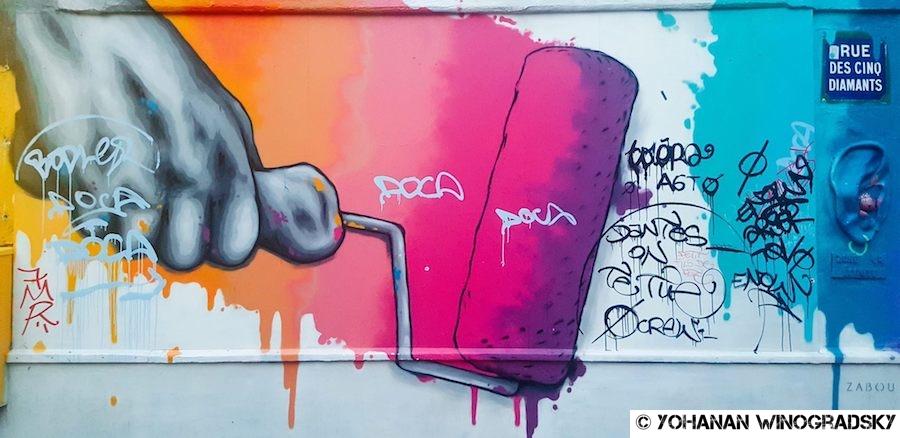 streetart paris par zabou sur la butte aux cailles