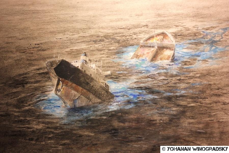 pejac paris bateau daphne waterline exposition