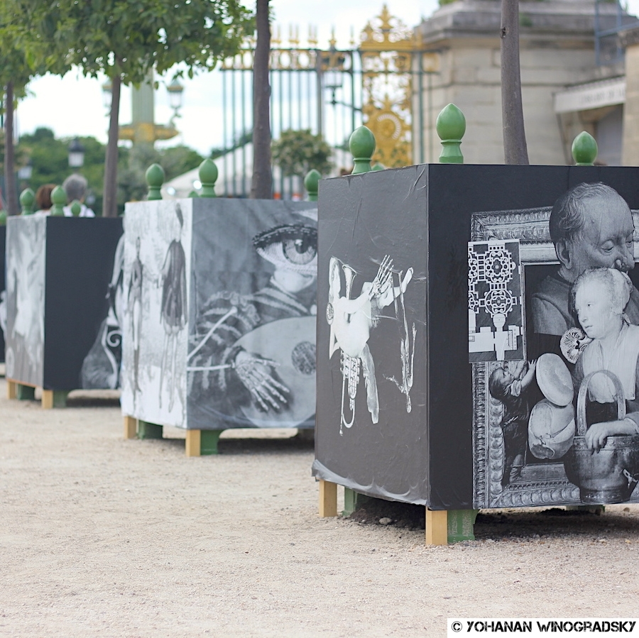 """streetart 13 bis avec les élèves pour le projet """"de la rue au louvre"""" dans les jardins des tuileries"""