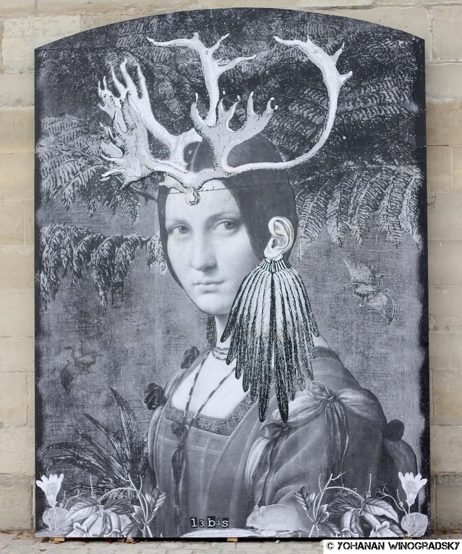 """streetart 13 bis pour le projet """"de la rue au louvre"""" dans les jardins des tuileries"""