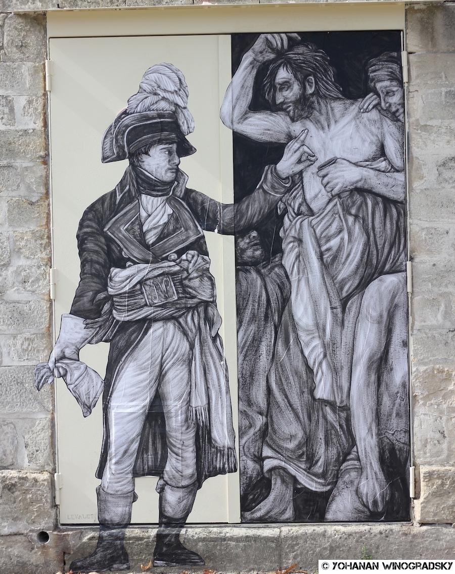 """streetart levalet pour le projet """"de la rue au louvre"""" dans les jardins des tuileries"""