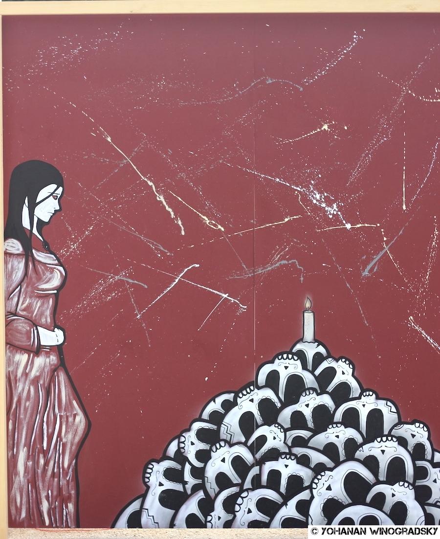 """streetart ninin pour le projet """"de la rue au louvre"""" dans les jardins des tuileries"""