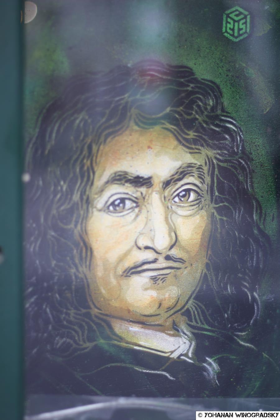 """Portrait de René Descartes par c215, série """"illustres, c215 autour du panthéon"""""""