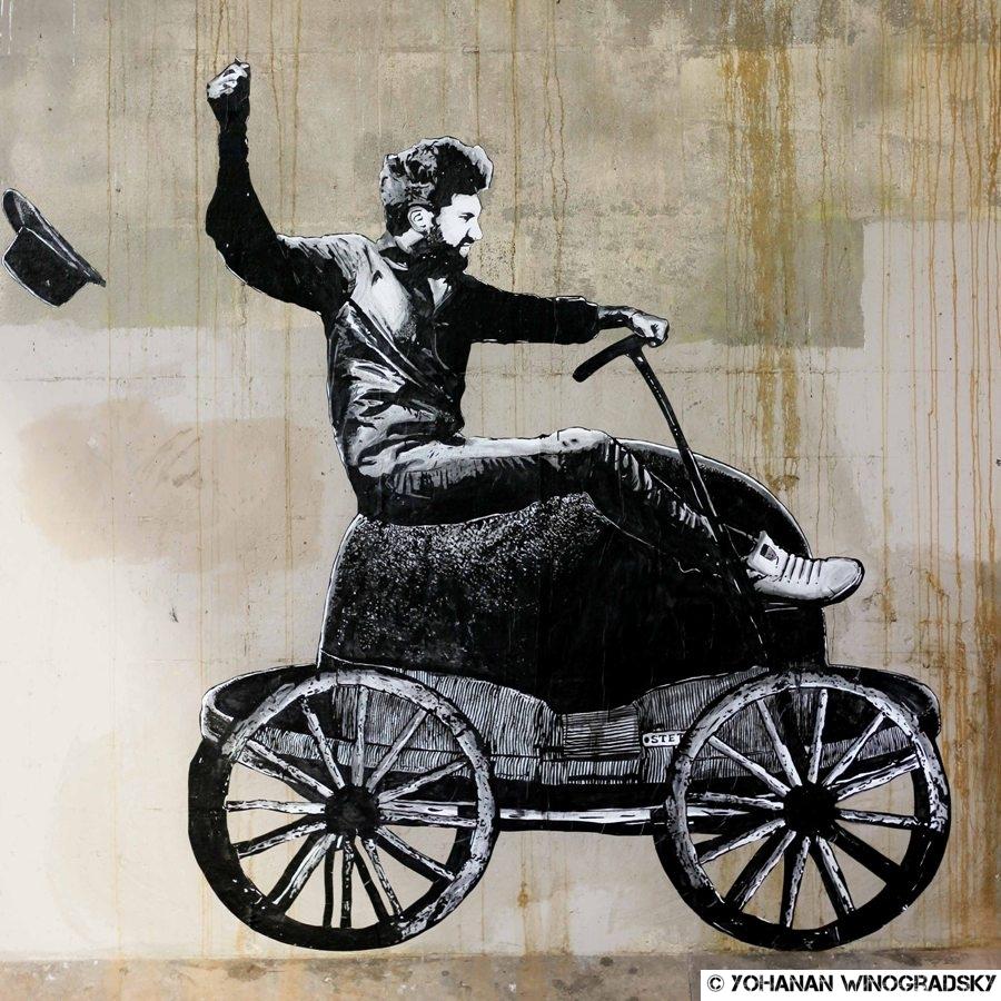 streetart paris par jaeraymie collection expressions idiomatiques sur les chapeaux de roue