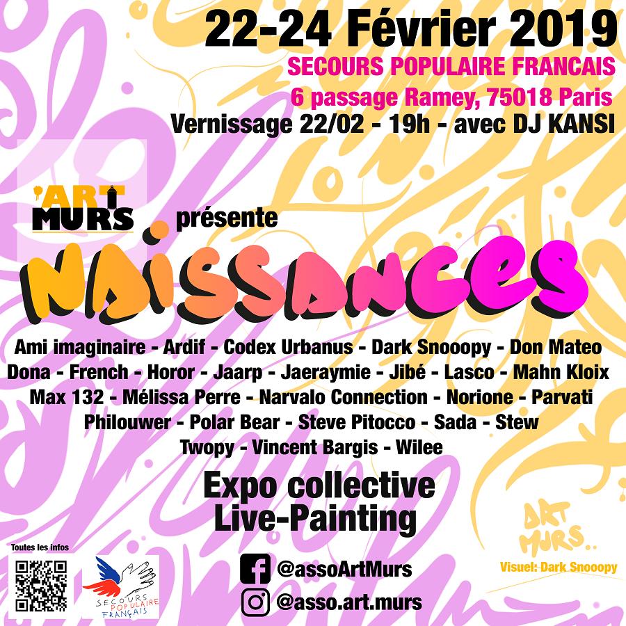 """exposition événement """"naissances"""" au secours populaire 22-24 février 2019"""